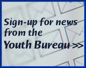 image of text to sign-up for e-mail news from the Youth Bureau